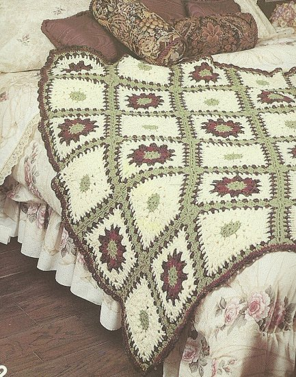 Crochet  * 5 *  Afghans by Patons - Aran - Lily Pond - Garden Path