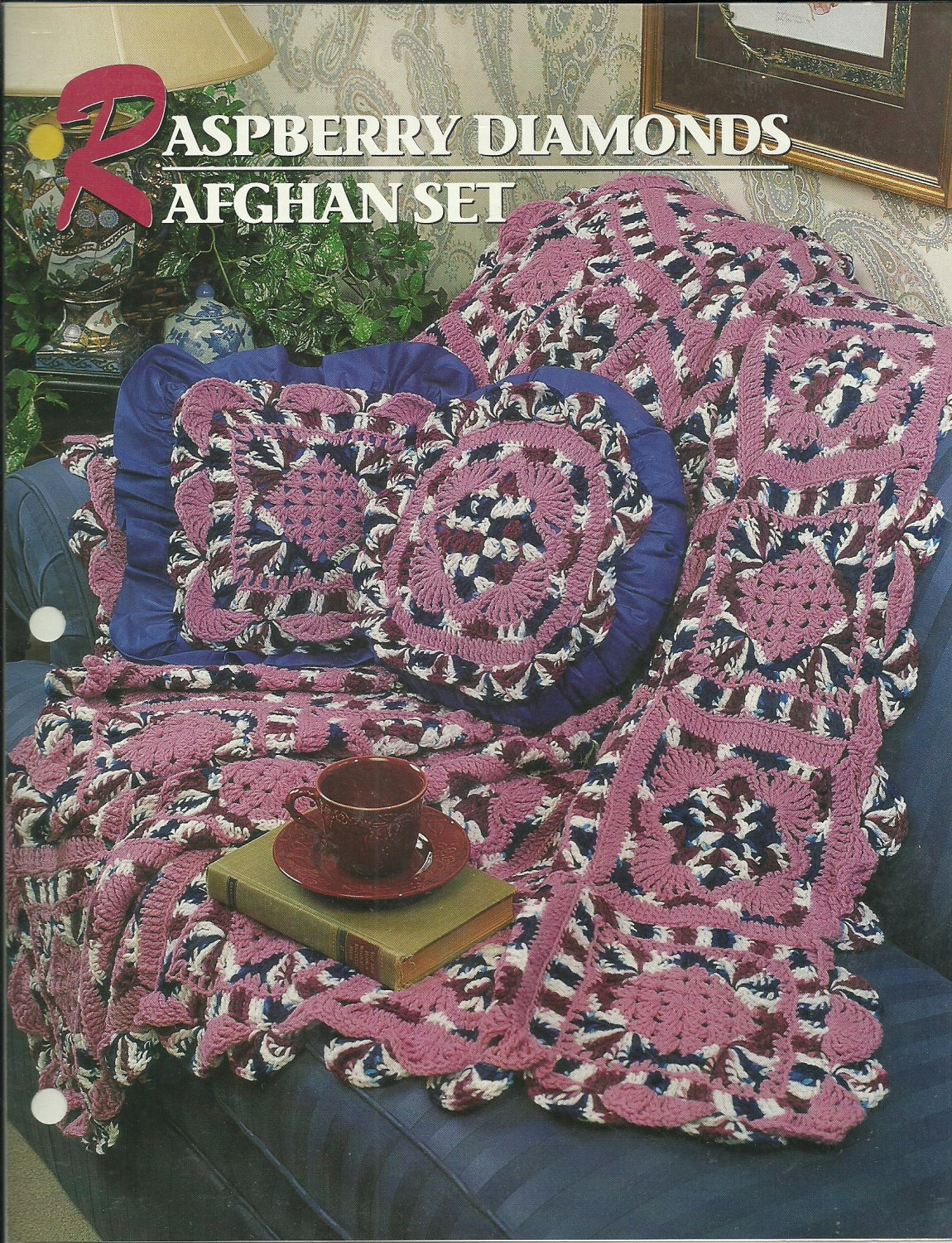 *Annie's Crochet Quilt Afghan Club - Raspberry Diamonds Afghan Set