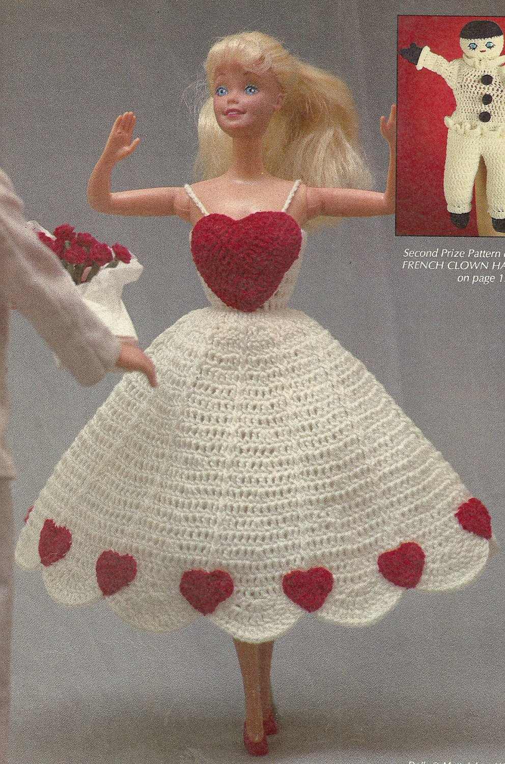 *Crochet World Mag - Feb - 1990 / Pillow Afghan - Baby Hoodie - Fashion Doll Patterns