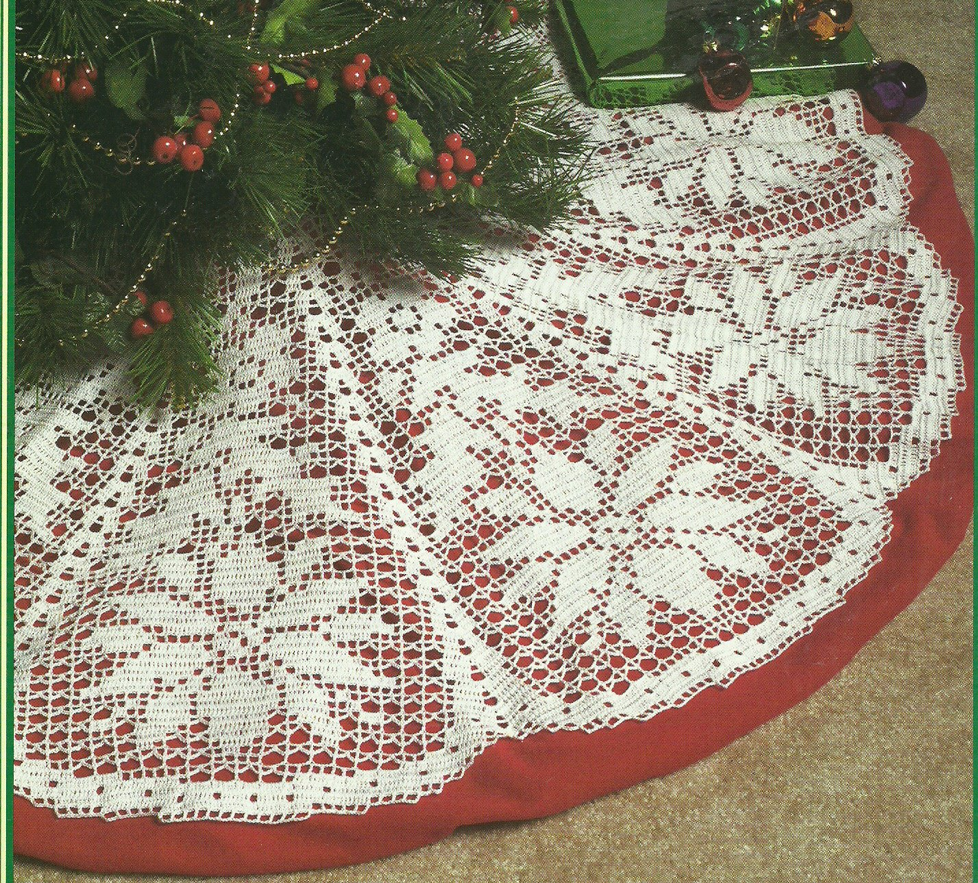 White Christmas Collection - Poinsettia Tree Skirt - Filet Crochet
