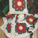** Annie's Poinsettia Afghan and Pillow Pattern - PC Victorian Carolers - Caps Mittens