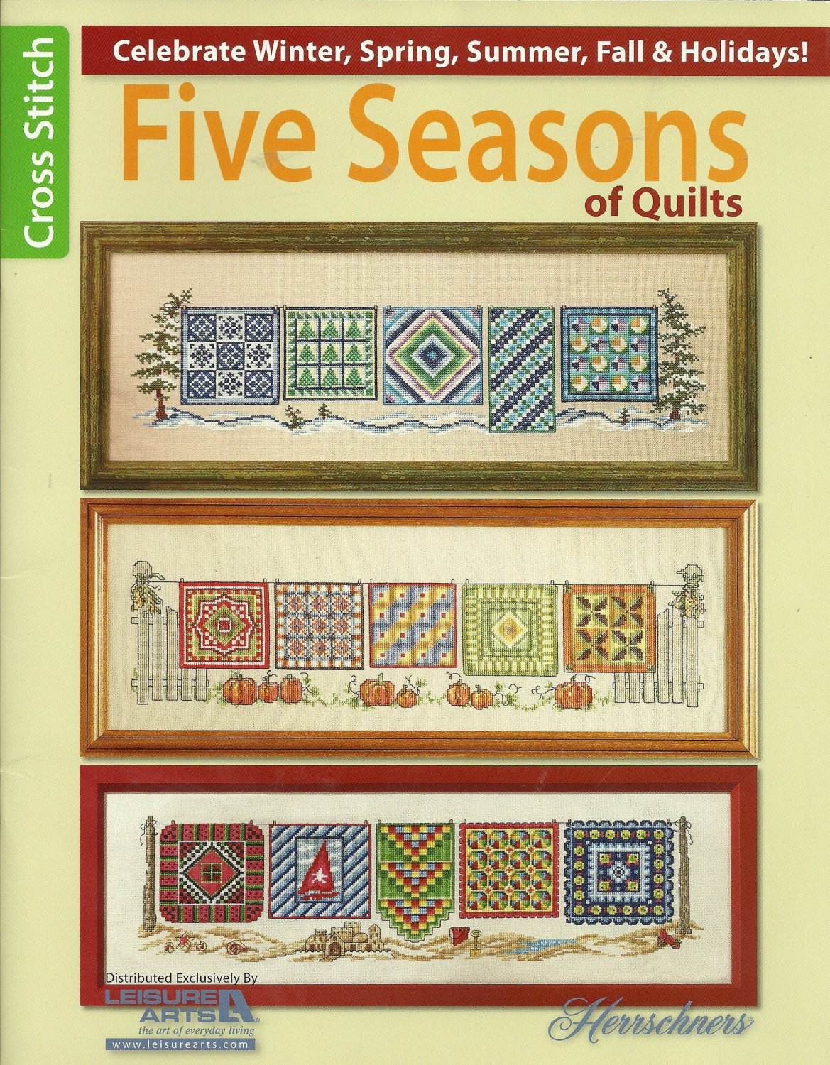* 5 Cross Stitch Patterns HERRSCHNERS Five Seasons Of Quilts
