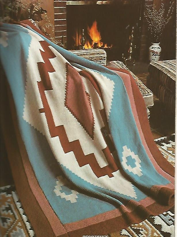 Indian Design Afghan Pattern - Knit or crochet