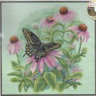 Butterfly Cross Stitch KIT - BUTTERFLY & DAISIES  Dimensions