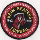 US Navy VF-101 Grim Reapers Insignia F-14 Tomcat Sq Farewell 1942-2005 Patch