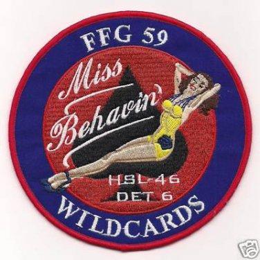 HSL-46 DET 6 Helicopter Anti-Submarine Squadron FFG-59 MISS BEHAVIN Patch