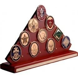 Triangular Wood Boy Scouting Challenge Coin Display Rack