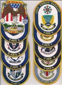 US Navy USS T-AKE- 1 - 13 Patches
