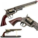 DECORATIVE WESTERN STYLE NAVY REVOLVER WITH STAND