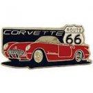 Corvette Route 66 Red Convertable Car Emblem Pin Pinback