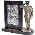 USMC Dress Blues Bronze Cast Resin Statue With Black Base Photo Frame