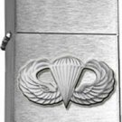 US Army Antique Silver Paratrooper Brushed Chrome Lighter