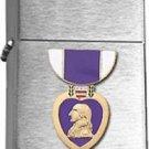 Brushed Chrome Purple Heart Star Lighter