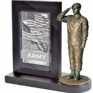 US Army Specialist Bronze Cast Resin Statue With Cherry Base Photo Frame