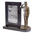 USMC Female Bronze Cast Resin Statue With Cherry Base Photo Frame