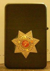 Polished Chrome USMC Police Badge MP Emblem Black Lighter