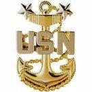 US Navy Master Chief Petty Office's Badge Pin 1-7-8''