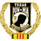 "United States POW * MIA Wreath Texas 1-5/16"" Pin Back"