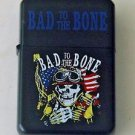Biker Motorcycle Bad To The Bone America Flags and Skull Lighter