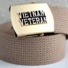 Vietnam Veteran Khaki Belt & Brass Buckle