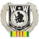 United States Wounded Warrior with Wreath Vietnam Service Pin Back