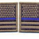 American Flag Reversed Police Blue Line OD Subdued Set Left & Right Patches