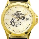 USMC Watch with Deluxe Leather Strap & Date- 30m Water Resistant