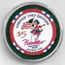 $5 Flamingo Hilton Hotel Reno 0580 Limited 1997 Edition Casino Chip