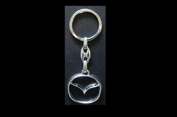 MAZDA POLISHED STEEL KEY RING MAZDA LOGO OUTLINE DESIGN