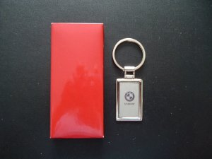 BMW POLISHED STEEL KEY RING SQUARE TAG STYLE DESIGN