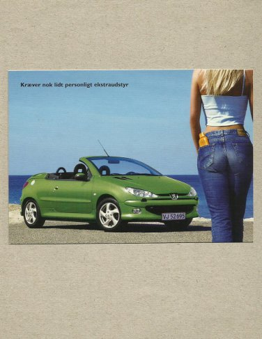 PEUGEOT 206 CC CABRIOLET ADVERTISING POSTCARD FROM DENMARK
