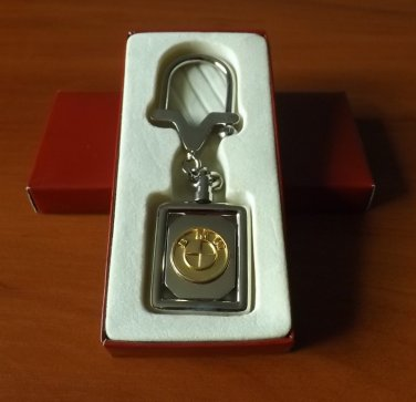 BMW POLISHED STEEL GOLD COLOR KEY RING STYLISH LOCK DESIGN