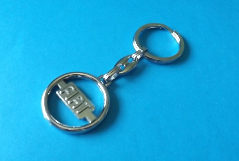 FIAT POLISHED STEEL KEY RING BADGE OUTLINE DESIGN