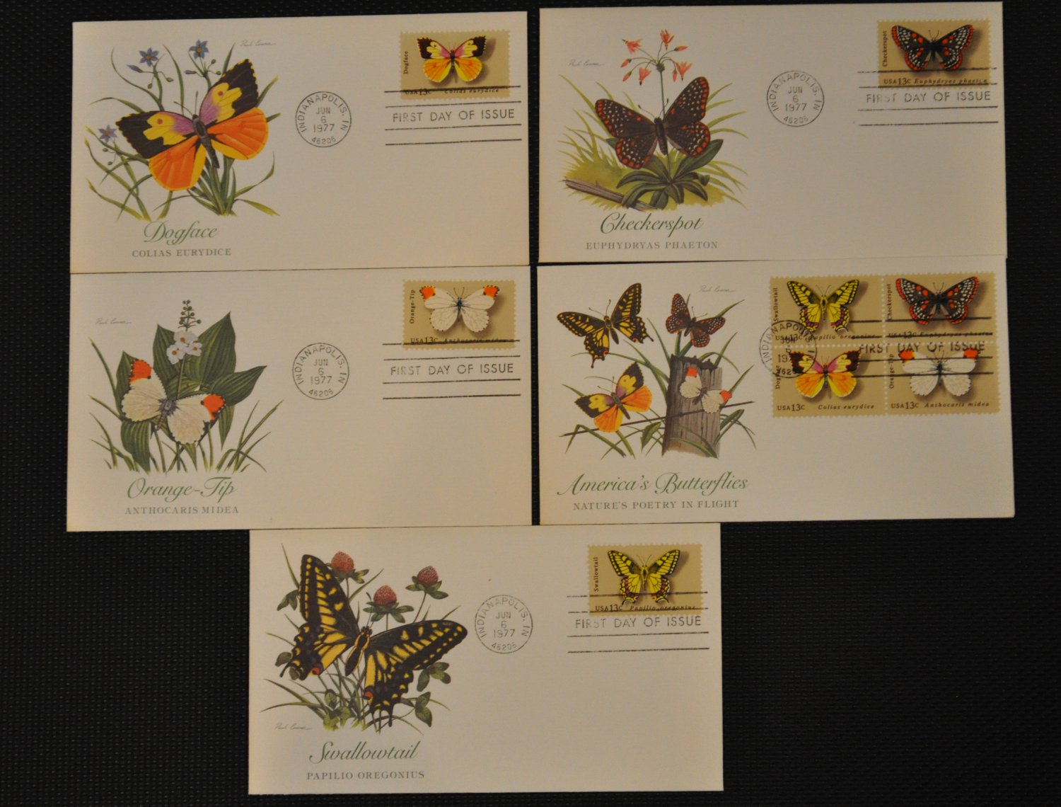 Set of 5 FDC 1977 Butterfly First Day of Issue