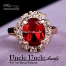 18K Gold Plated Austrian Crystal Red Ruby Erstwhile Memory Retro Design Lady Finger Ring