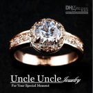 Classic!!!18K White Gold Plated Sparkly Austrian Zircon Luxury Lady Diamond Wedding Ring Gold/Silver