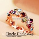 18K Real Gold Plated Multicolor Austrian Crystal Studded The Stars Design Lady Finger Ring