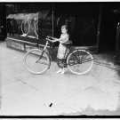 *NEW* VINTAGE ANTIQUE BICYCLE PHOTO: NEW YORK TIMES MESSENGER GIRL WITH CYCLE