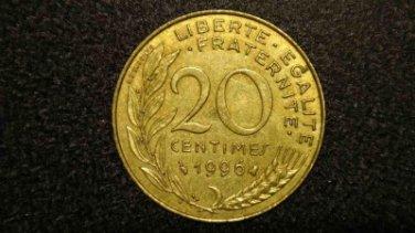 """1996 FRANCE/FRENCH COIN: 20 CENTIMES """"LIBERTE-EGALITE-FRATERNITE"""""""