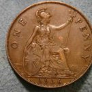 1936 BRITISH UK ENGLAND LARGE COPPER PENNY CENT: Antique/Vintage Coin