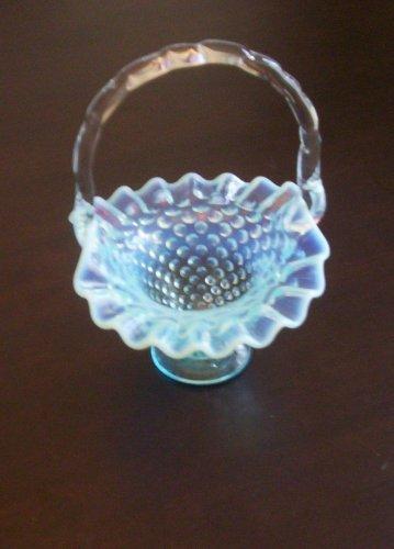 Vintage Collectible Art Glass Hobnail Blue Handled Basket