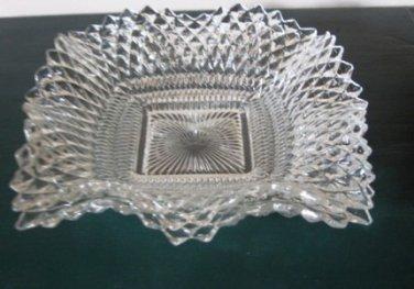 Federal Glass Diamond Point Square Bon Bon Dish