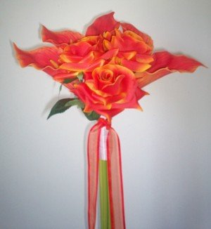 Contemporary Orange Callas & Roses Bouquet