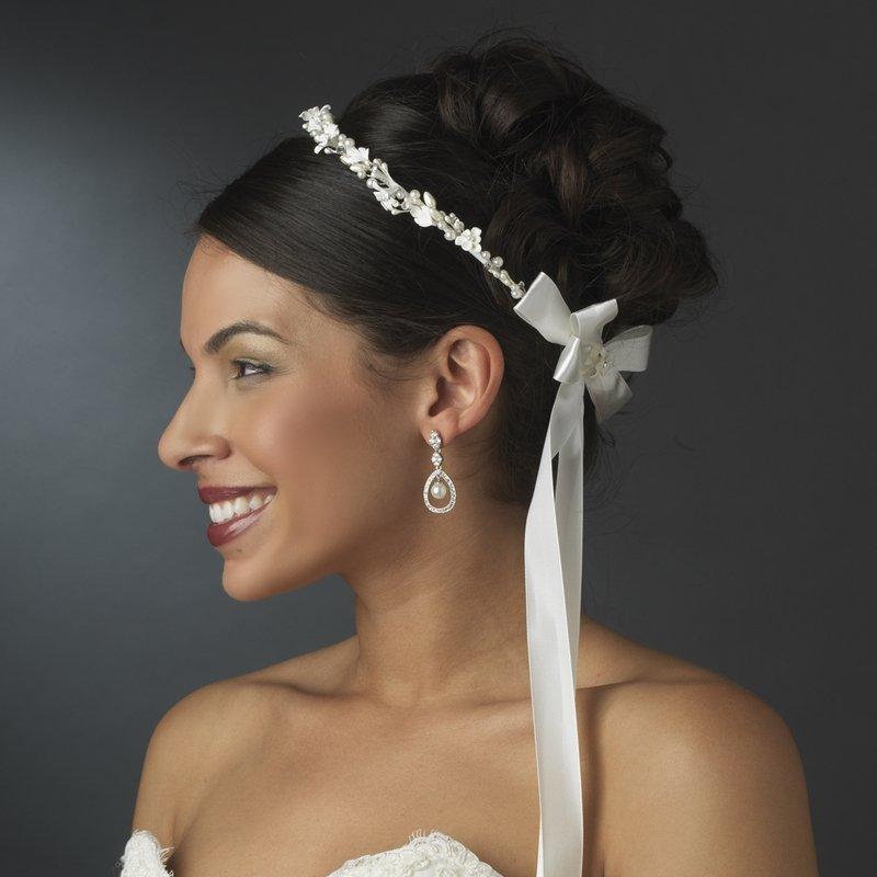 Lovely White or Ivory Flower & Pearl Greek Stefana Wedding Crowns 8016