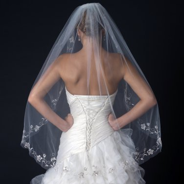 Single Layer Fingertip Length Cut Edge Veil with Floral Embroidery, Bugle Beads & Sequins