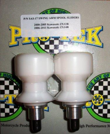 Pro-tek Swing Arm Spool Slider Kawasaki 2009 2010 2011 2012 2013 2014 Ninja ZX14 ZX14R White SAS-17W
