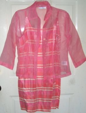 Womens Peach Plaid 2 pc Dress & Sheer Blouse 7/8 New