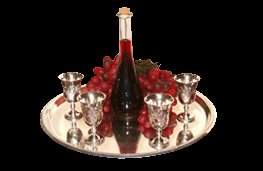 Round Wine Server Tray with Kidush Silver Polish Cups