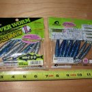 Ecogear Grass Minnow Power Worm (Iwashi) Blue/silver 2 Packs, New, Sealed