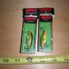 2 Little Rapala CD-3 Sinking Minnow Lures, Fire Minnow pattern